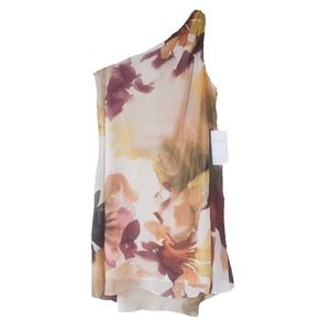 NWT Maggy London Watercolor One Shoulder Dress